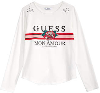 GUESS Big Girls Embroidered Rhinestone Long-Sleeve T-Shirt