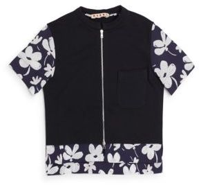 Little Girl's & Girl's Floral-Print Trimmed Short Sleeve Zip-Front Top $240 thestylecure.com