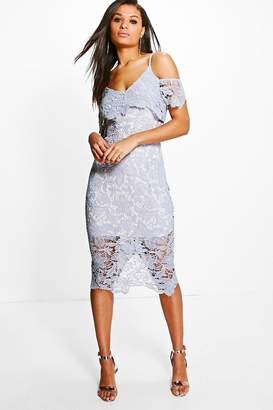 boohoo Boutique Corded Lace Midi Dress