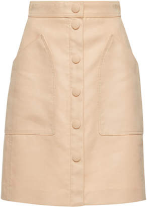 Bottega Veneta Button Front Velvet Cotton Skirt
