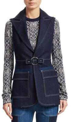 Chloé Bi-Color Cotton Denim Vest
