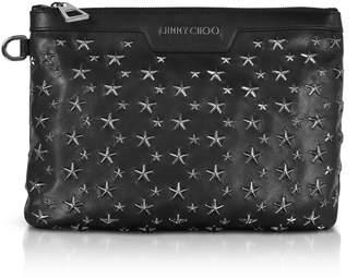 Jimmy Choo Black/gunmetal Derek/s Small Clutch W/stars