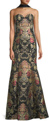 Jovani Floral Brocade Strapless Mermaid Gown with Scarf