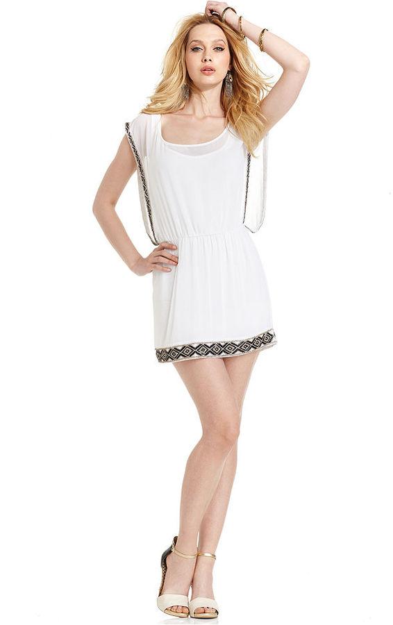 GUESS Dress, Short-Sleeve Scoop-Neck Beaded Trim