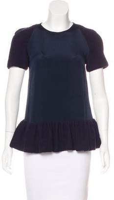 Opening Ceremony Silk Ruffled Top