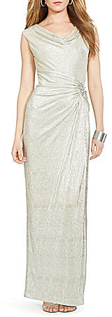 Lauren Ralph Lauren Lauren Ralph Lauren Metallic Cowlneck Gown