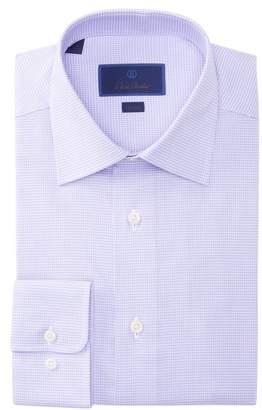 David Donahue Trim Fit Houndstooth Dress Shirt