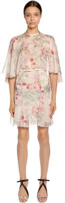 Giambattista Valli Floral Printed Silk Georgette Cape Dress