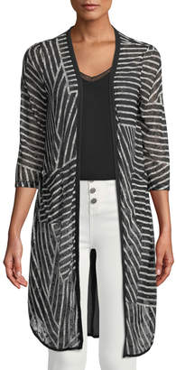 Neiman Marcus Lace Striped Duster Cardigan