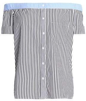 Bailey 44 False Start Off-The-Shoulder Striped Cotton-Blend Poplin Top