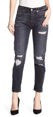 7 For All Mankind Josefina High Waisted Distressed Skinny Boyfriend Jeans