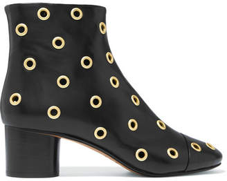 Isabel Marant Danay Eyelet-embellished Leather Ankle Boots - Black