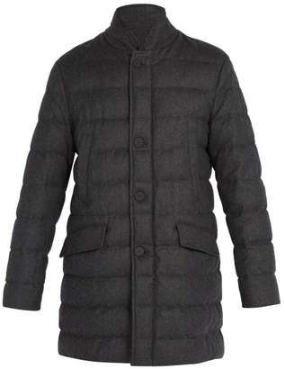 Moncler Keid Quilted Down Wool Coat - Mens - Dark Grey