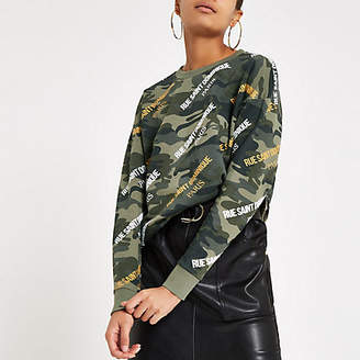 River Island Womens Khaki camo 'Rue Saint Dominique' sweatshirt