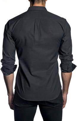 Jared Lang Men's Check Pattern Sport Shirt w/ Comic Book Cuffs, Black