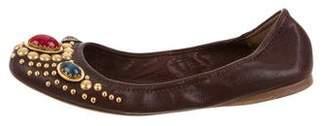Miu Miu Jeweled Accented Leather Flats