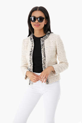 Rebecca Taylor Cream Fringe Tweed Jacket