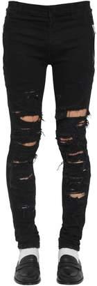 Balmain 15cm Slim Destroyed Cotton Denim Jeans