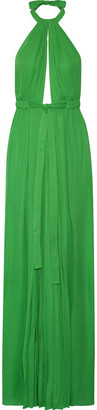 Emilio Pucci - Pleated Silk Halterneck Gown - Green $3,290 thestylecure.com