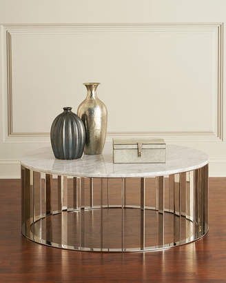 Interlude Home Roxette Marble-Top Round Coffee Table