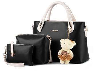 H.Tavel Women Multi-Purpose 3pc set Purse PU Leather Clutches Tote Bag Top-handle Shoulder Handbags