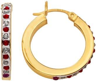 18k Gold-Over-Silver Ruby Hoop Earrings