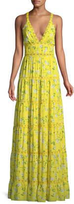 Alice + Olivia Karolina Floral-Print Tiered Maxi Dress