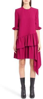 Alexander McQueen Asymmetrical Ruffle Hem Crepe Dress