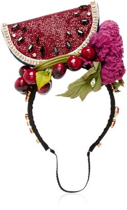 Watermelon-Embellished Silk-Satin Headband