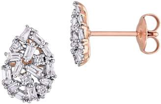 Everly 14K Rose Gold 0.25 TCW Diamond Cluster Pear-Shaped Stud Earrings