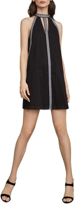 BCBGMAXAZRIA Striped Eyelet Halter Dress