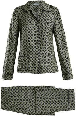 Prada Geometric Print Silk Pyjama Set - Womens - Navy Multi