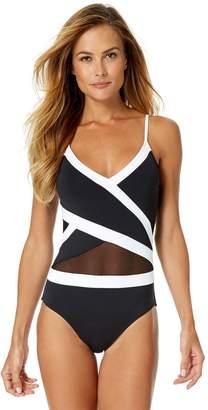 72f3190233851 Anne Cole Women s Mesh Cross Over One Piece Swimsuit