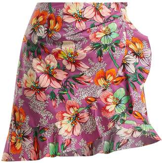 Mouna floral-print ruffle-trimmed mini skirt