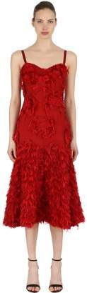 Alexander McQueen Fringed Silk Floral Appliqués Dress
