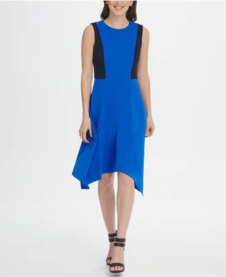 DKNY Colorblock Handkerchief Hem Dress