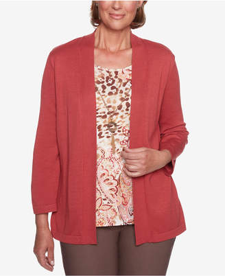 Alfred Dunner Sunset Canyon Paisley-Print Layered-Look Necklace Top