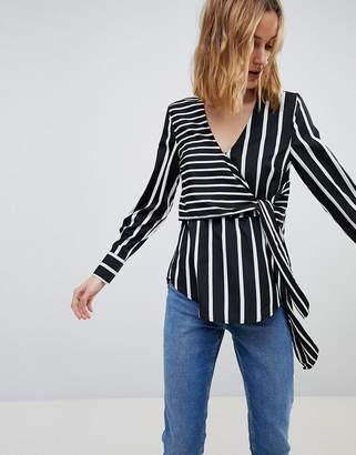 Warehouse Stripe Wrap Front Blouse