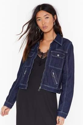 Nasty Gal Womens It'S Sticky Stitch-Uation Cropped Denim Jacket - Blue - 6