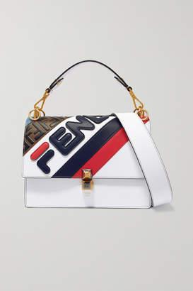 Fendi Kan I Appliquéd Leather Shoulder Bag - White