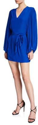 Ramy Brook Ryann V-Neck Bishop-Sleeve Mini Dress