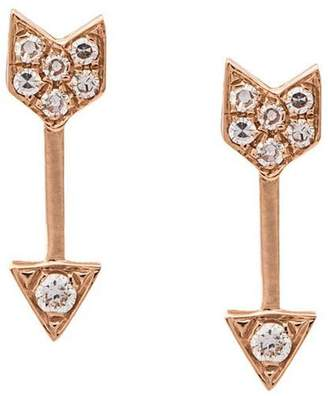 Ef Collection mini arrow diamond stud earrings