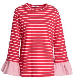 Clu Fluted Striped Cotton-Blend Jersey Top