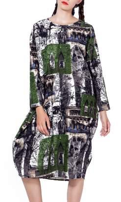 ELLAZHU Women Casual Long Sleeves Floral Print Pockets Crewneck Splice Dress