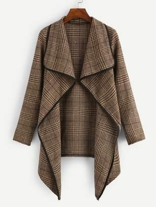 Shein Plus Plaid Drape Front Coat