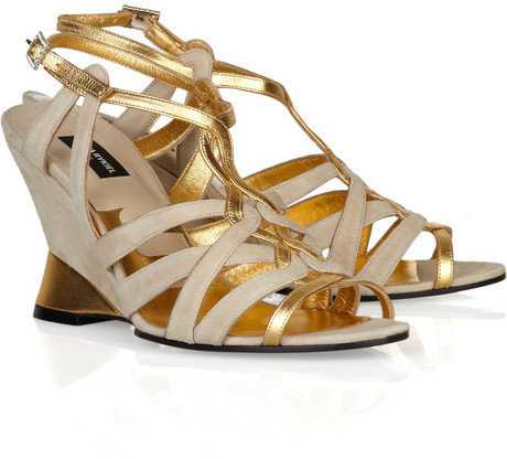 Sonia Rykiel Suede and metallic leather wedge sandals
