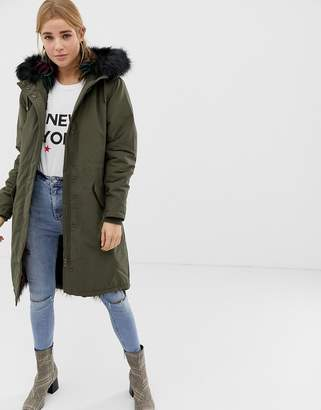 New Look multicoloured fur lined parka