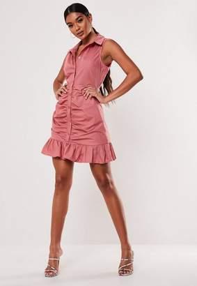 Missguided Pink Poplin Sleeveless Shirt Dress