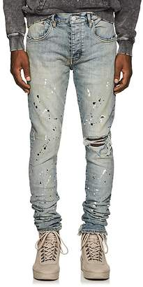 Purple Men's Paint-Splatter Skinny Jeans