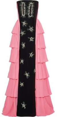 DELPOZO Strapless Embellished Tiered Silk-Chiffon Gown